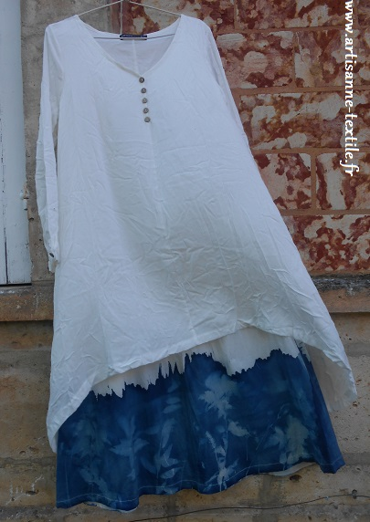 robe cyanotype tissu