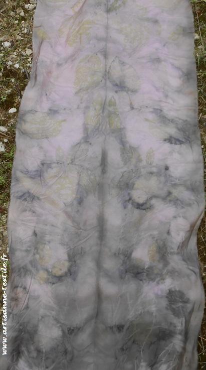 eco-print sur soie et coton