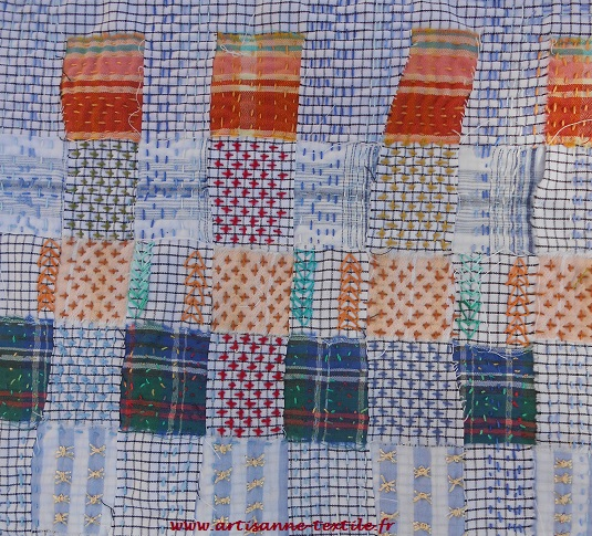 Lenteur brodée: carré 5 en slow-stitching