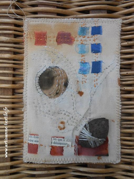 Carte textile avec tissu à la rouille
