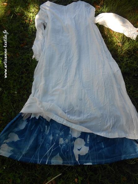 Rbe au cyanotype sur tissu