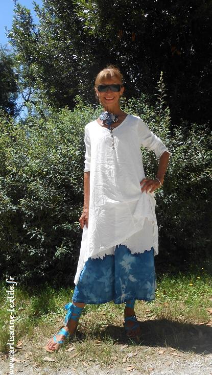 Robe au cyanotype