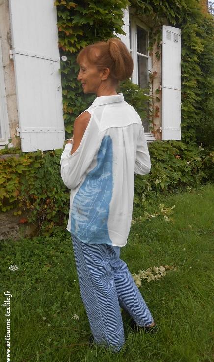 artisane textile cyanotype sur tissu
