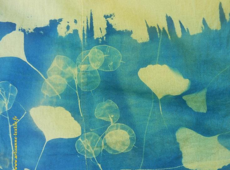 Cyanotype-tissu sur fond coloré 2