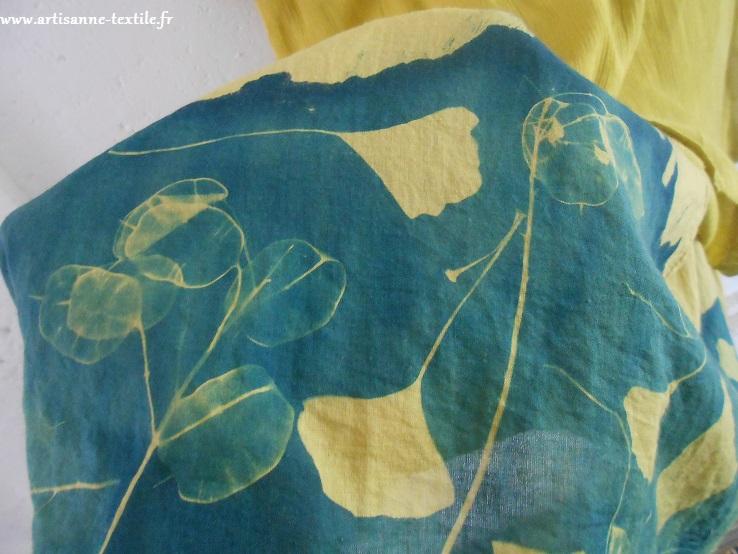 détail du dos cyanotype- tissu