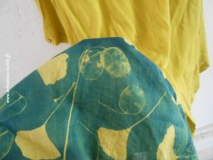 cyanotype- tiossu sur fond jaune