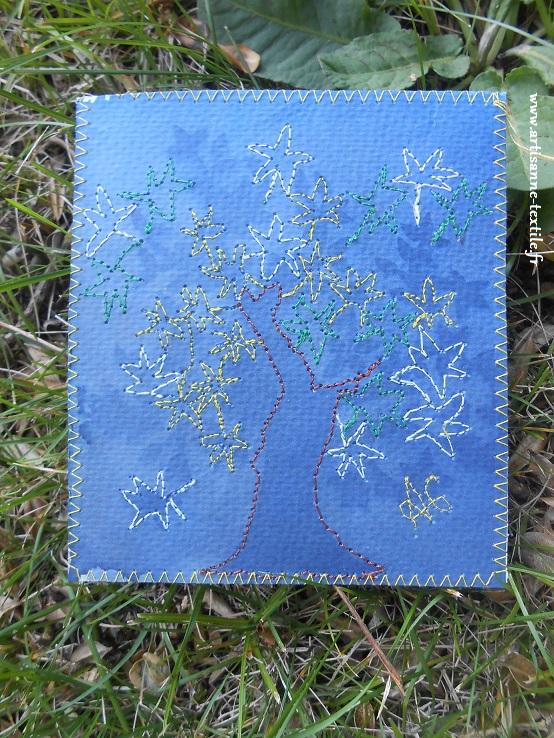 Carte cyanotype et piqué libre