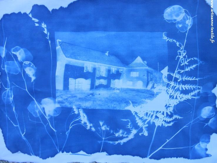 Cyanotype détourné avant broderie