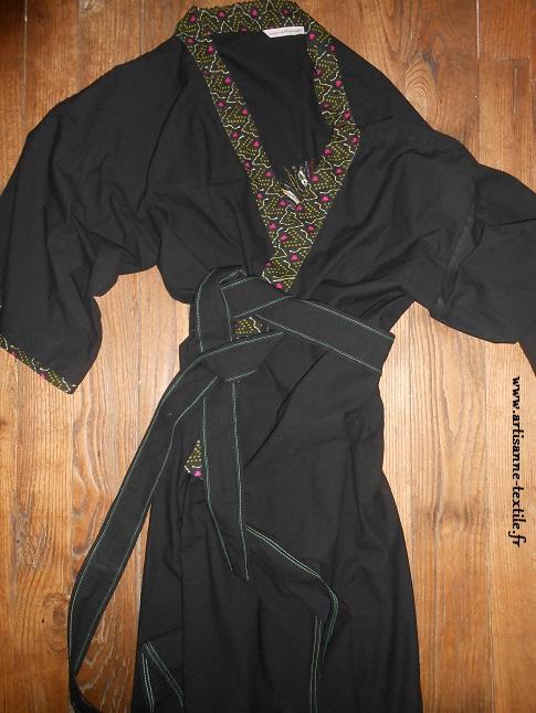 Kimono d'homme noué et brodé d'un oiseau glazig