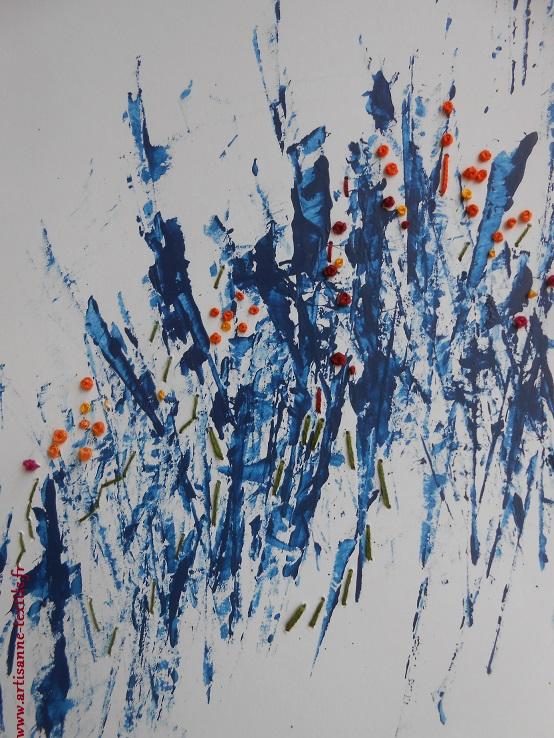 tableau textile 2 rebrodé