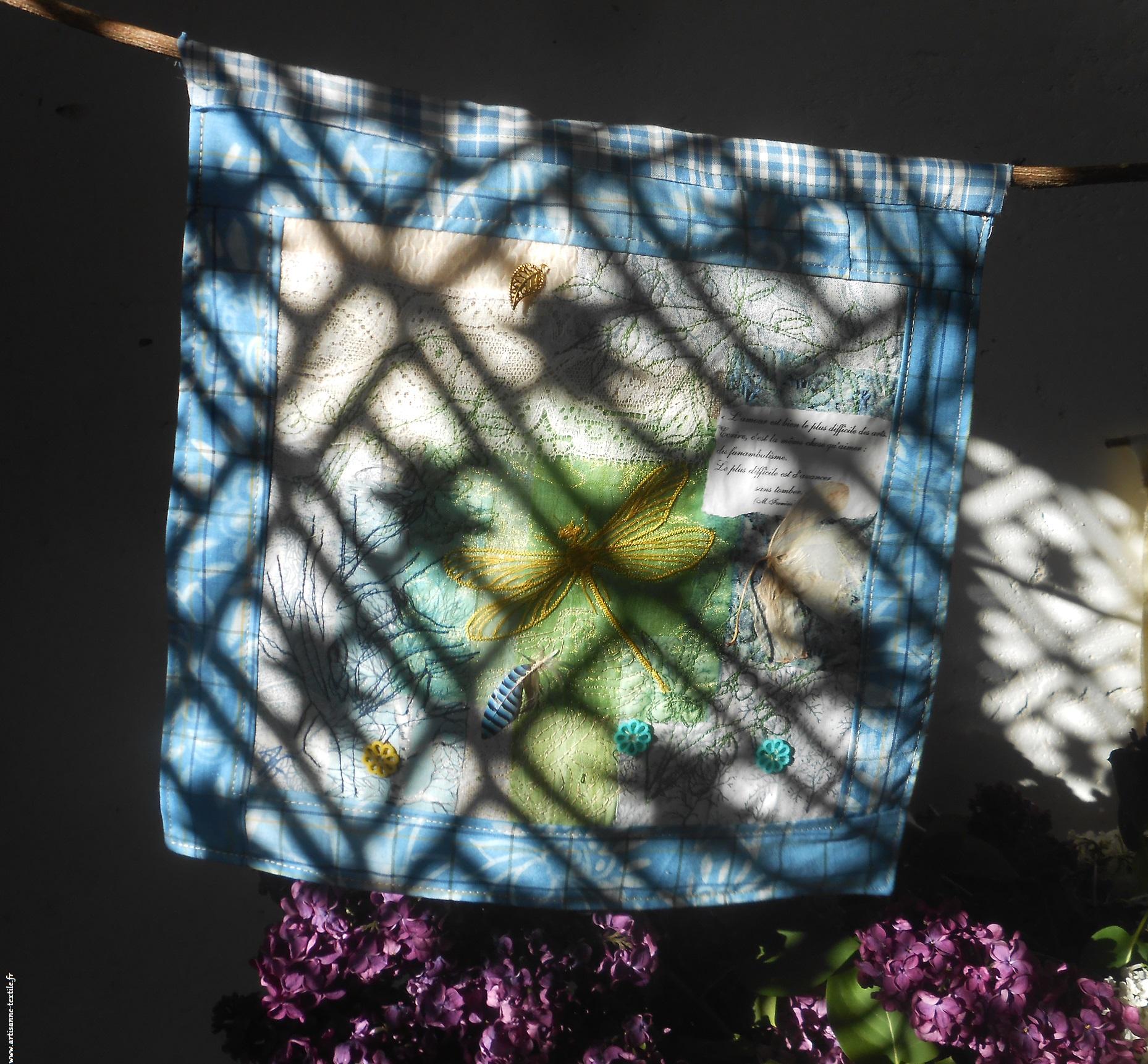 cyanotype et collage: le soleil joue derrière une grille