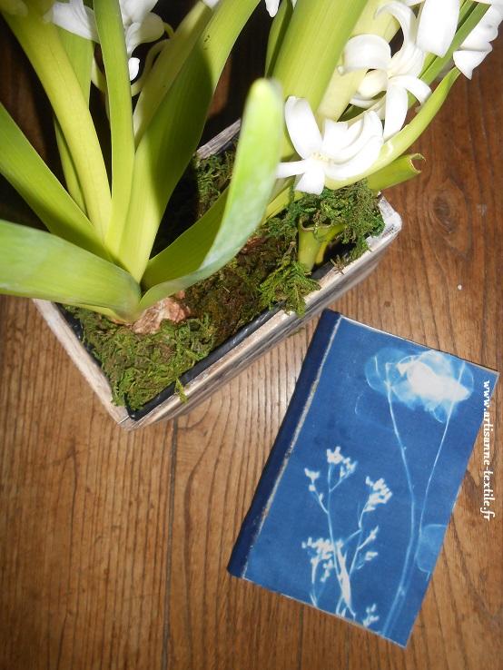 voeux: cyanotype et carnet de l'artisanne textile
