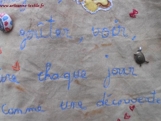 détails 1 de la carte textile de voeux