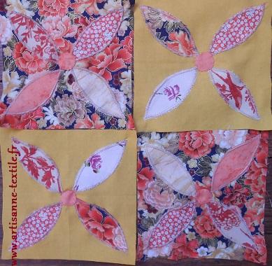 jardin textile d'Amélie: des pétales appliqués -machine