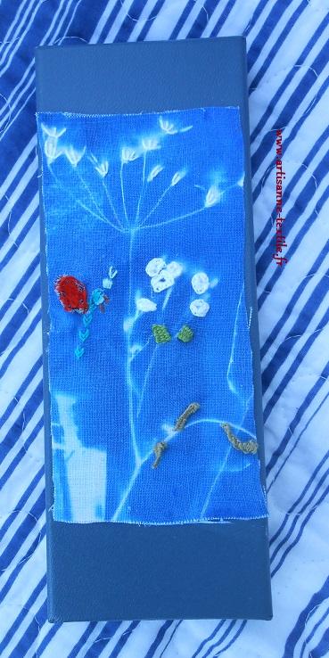stumpwork et cyanotype sur tissu