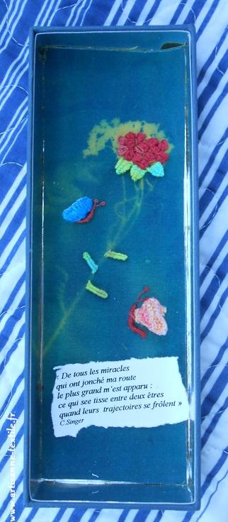 Stumpwork: fleur et papillons