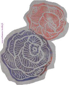 rose en linogravure 5