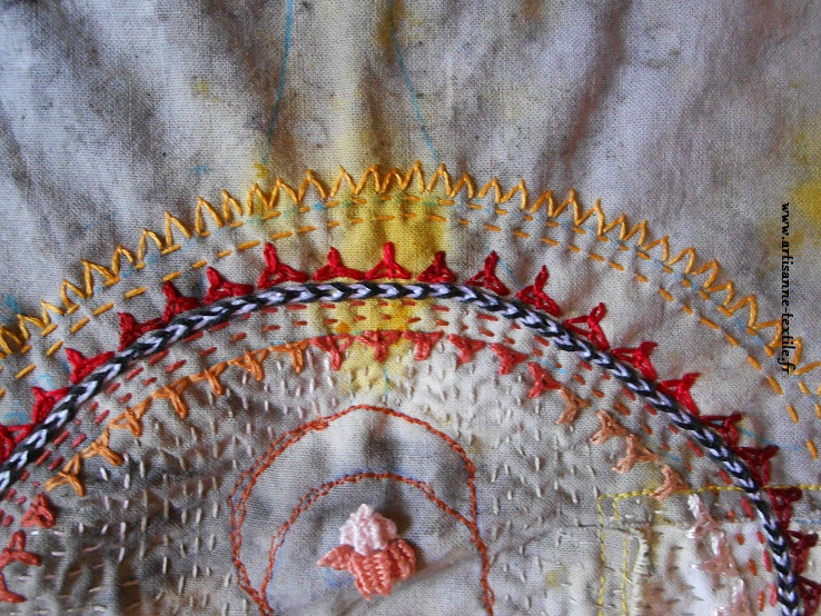 mandala brodé 2: le mudra de Bouddha
