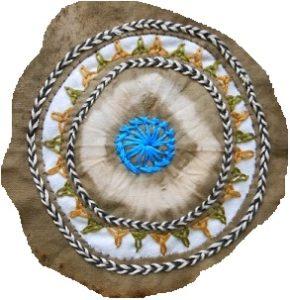 mandala textile, centre, détail