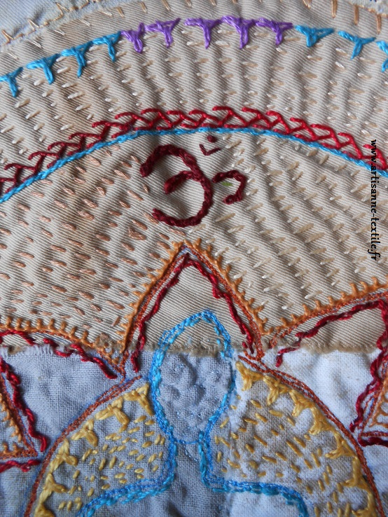 détail 1 du mandala textile du yogi