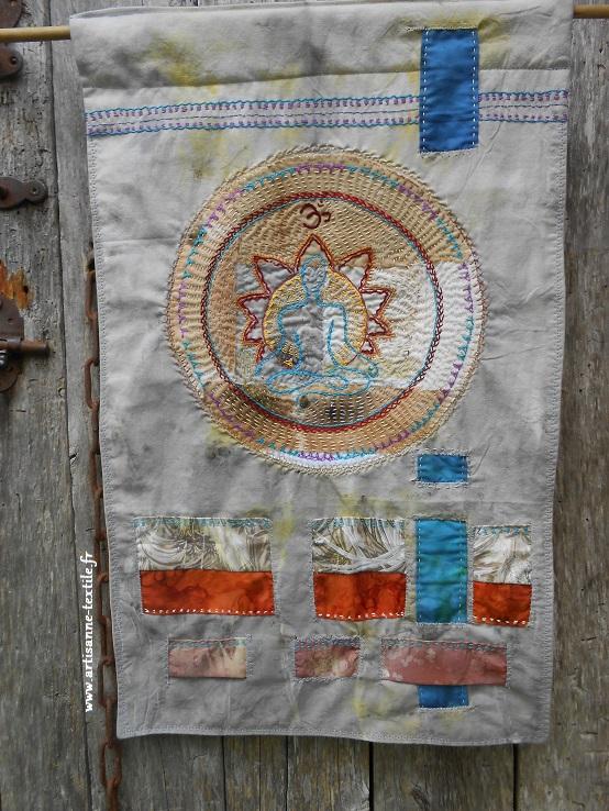 mandala textile du yogi, broderie