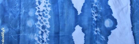 plissage et coupe du cyanotype