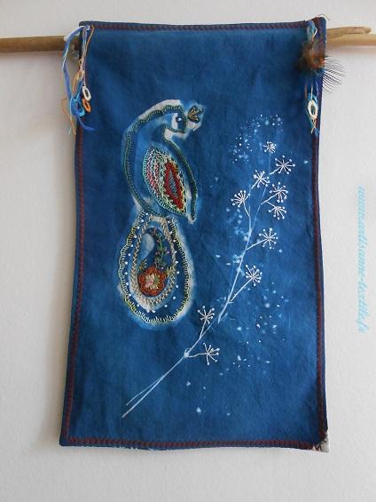cyanotype brodé le paon 3