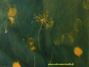 Expérimentations -cynanotypes détail sur tissu jaune