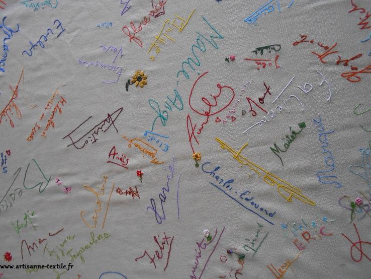 Nappe brodée aux signatures