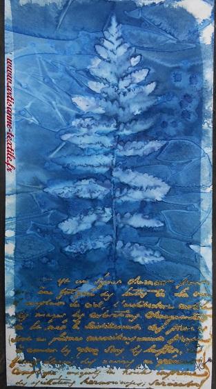 sans association de techniques, cyanotype sur tissu:embossage (2)