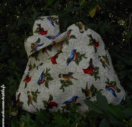 sac- baluchon (grab bag) réversible aux oiseaux 2
