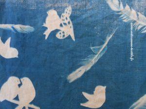 cyanotype sur tissu detail (1)les oiseaux