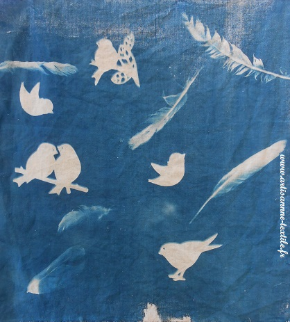 cyanotype sur tissu : les oiseaux