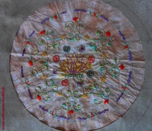 Mandala textile 8, la broderie 1