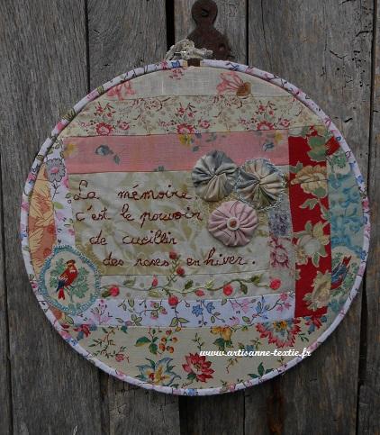 Cercle de tissus vintage rebrodés