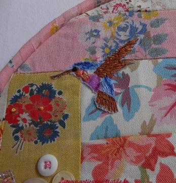 Broderie ronde: le colibri brodé