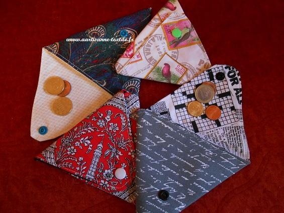 commande textile: les porte-monnaie triangulaires