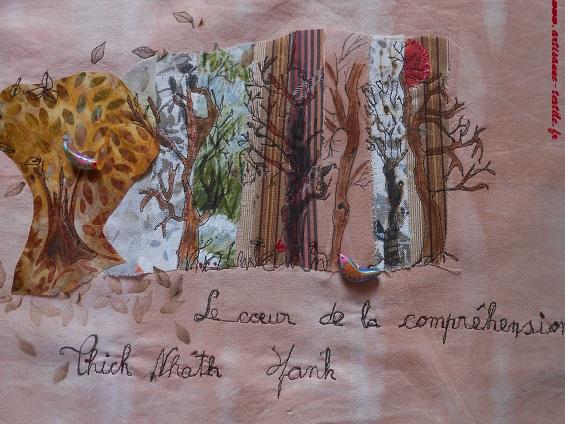 Pyrogravure sur tissu et piqué libre (journal textile: livre rouleau) 2