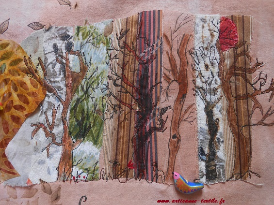 Pyrogravure sur tissu et piqué libre (journal textile: livre rouleau) 4