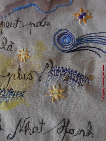 Détails de la broderie sur tissu pour livre rouleau