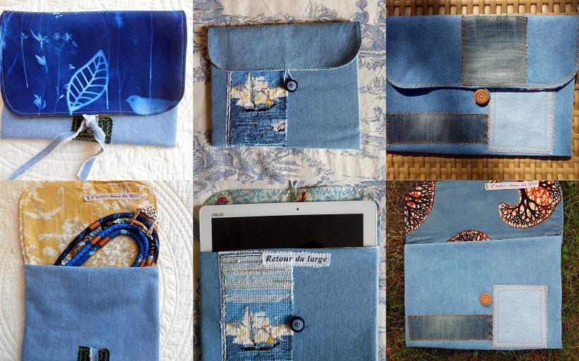 3 pochettes bleues