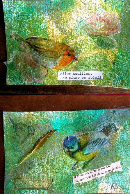 gelli plate oiseaux