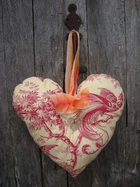 Coeur en toile de Jouy