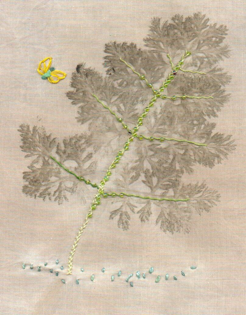 feuilles martelees perlees brodees